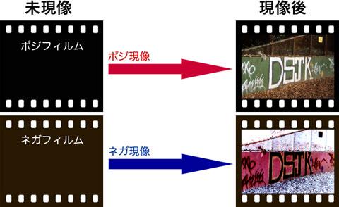 現像前フィルム → 現像 → 現像後フィルム