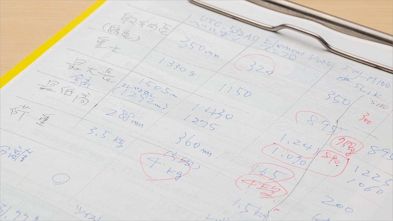 手書きの比較表